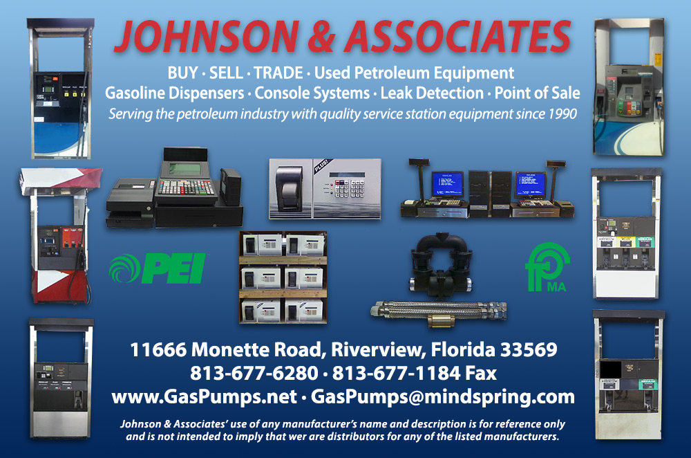 Johnson & Associates, Buy, Sell, Trade Used Petroleum Equipment, Gasoline Dispensers, Console Systems, Leak Detection, Point of Sale -  Call 813-677-6280